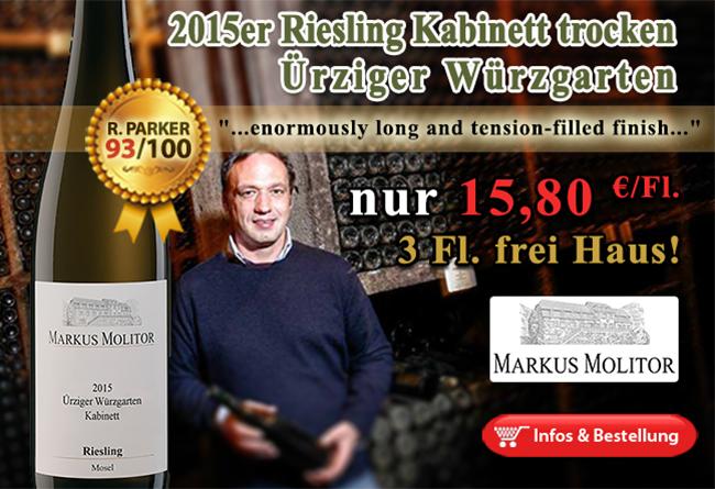 93/100 Punkte für den 2015er Riesling Kabinett trocken Ürziger Würzgarten Markus Molitor