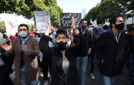 Anti-government protesters in Tunis