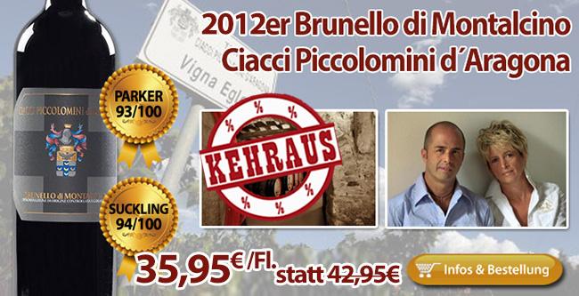 KEHRAUS: 2012er Brunello Ciacci Piccolomini nur 35,95€/Fl. statt 42,95€