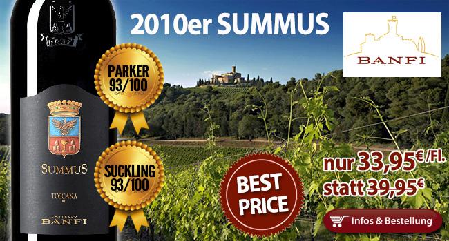 15% Rabatt: 2010er Summus – Banfi nur 33,95€/Fl. statt 39,95 Fl.