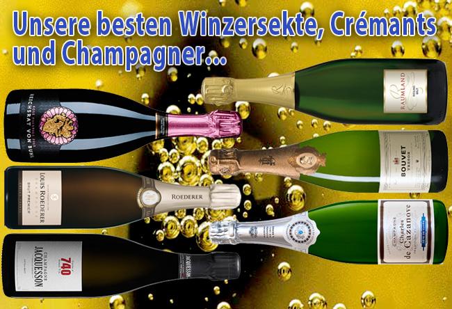 Unsere besten Winzersekte, Cremants und Champagner…