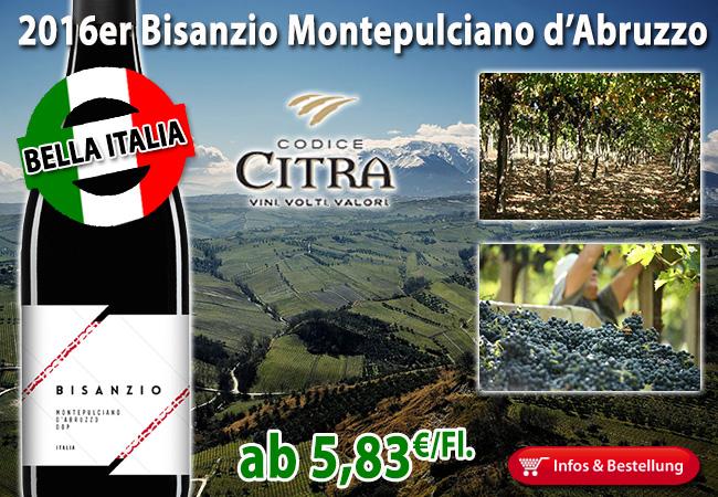 Bella Italia: Klasse Montepulciano d'Abruzzo ab 5,83€/Fl.