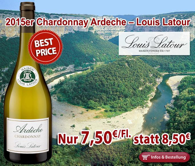 <br /> Best-Price: Nur 7,50 statt 8,50 für den 2015er Chardonnay Ardeche Louis Latour-