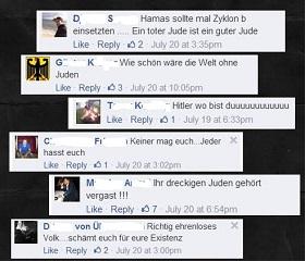 Kommentare auf der Facebook-Seite Israel in Deutschland (Archiv)