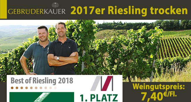 1. Platz Best of Riesling trocken 2018 - Grosses Kino für 7,40€/Fl.