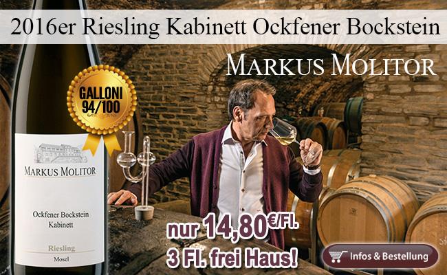 94 Punkte von Galloni: 2016er Riesling Kabinett Ockfener Bockstein - Markus Molitor