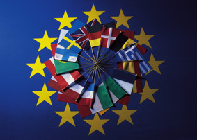 An arrangement of flags of countries belonging to the European union