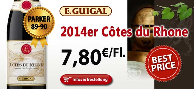 Nur 24 Stunden: 2014er Côtes du Rhône Rouge - Guigal 7,80€ ab der ersten Flasche!
