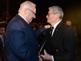 Staatspräsident Rivlin mit Bundespräsident Gauck im Museum der Ghetto-Kämpfer (Foto: GPO/Mark Neiman)