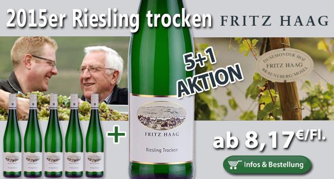 <br /> 5+1 AKTION: 2015er Riesling trocken – Fritz Haag