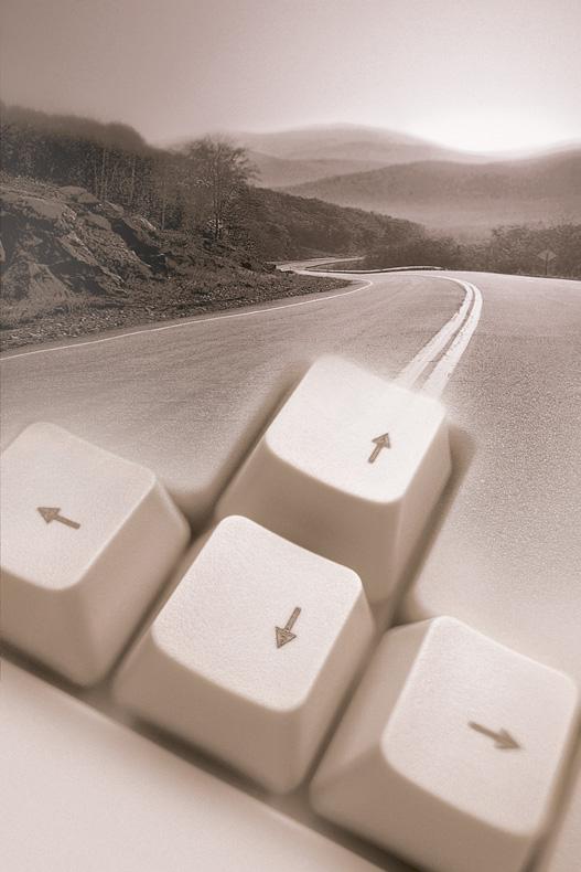 Rural highway and arrow keys