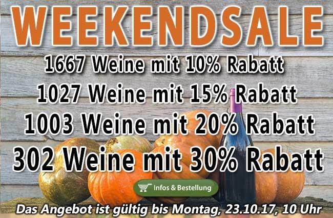 REMINDER! Das lohnt sich wirklich: XXXL WEEKENDSALE - allein 302 Weine 30% rabattiert!