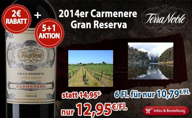 2€ Rabatt und eine Flasche umsonst: 2014er Carmenere Gran Reserva – Terra Noble