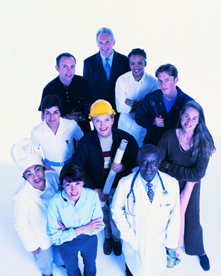 Group of women and men of different ages and professions