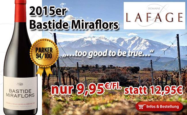 """Parker: """"Zu gut um wahr zu sein"""" 2015er Bastide Miraflors 94/100 nur 9,95€/Fl."""