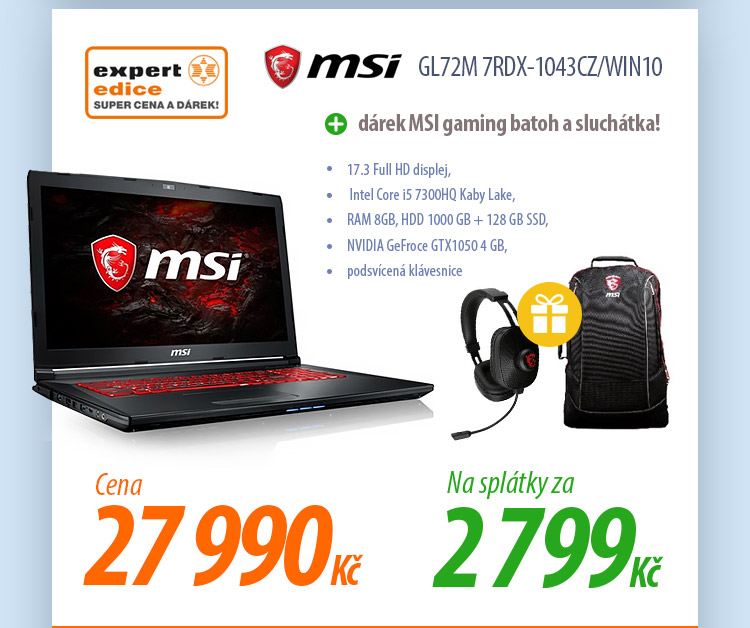 Notebook MSI GL72M 7RDX-1043CZ