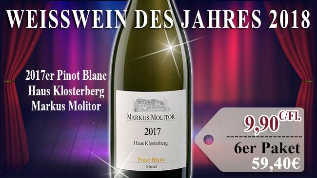 Weisswein des Jahres: 2017er Pinot Blanc Haus Klosterberg Markus Molitor