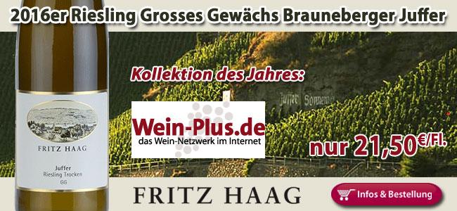 Gehört in jeden Keller: 2016er Riesling GG Brauneberger Juffer - Fritz Haag nur 21,50...