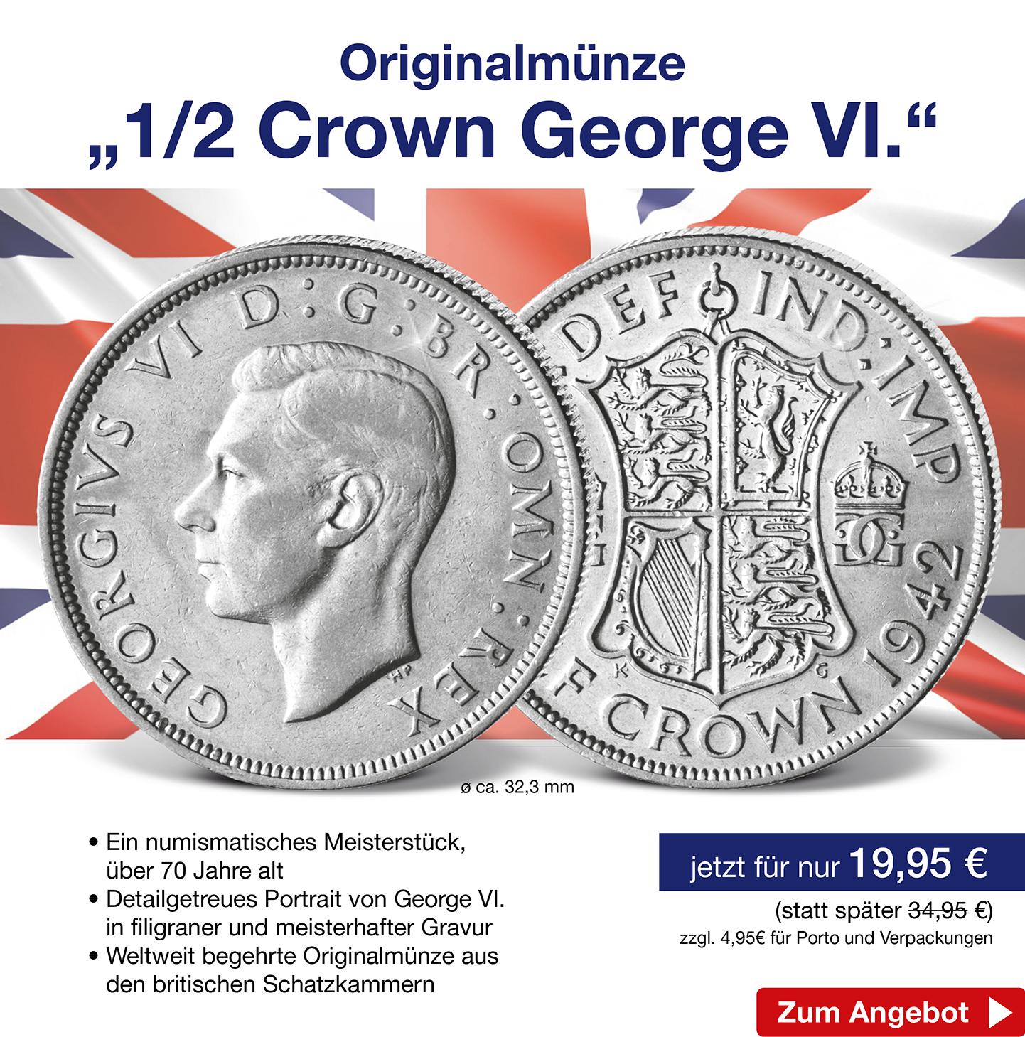 "Originalmünze ""1/2 Crown George VI."""