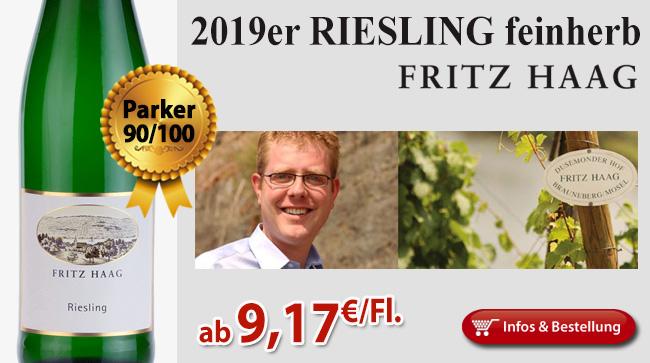 Ausgezeichnet: 2016er Riesling feinherb - Fritz Haag
