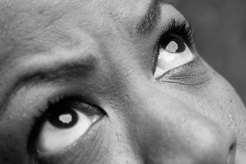 close-up of a man's eyes (black and white)
