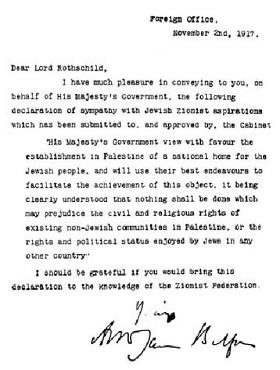 Die Balfour-Erklärung