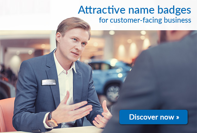 Attractive name badges for customer-facing business