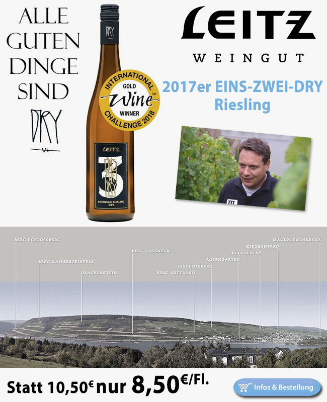 Super clean and tight…96/100 Punkte EINS-ZWEI-DRY Riesling nur 8,50€/Fl.