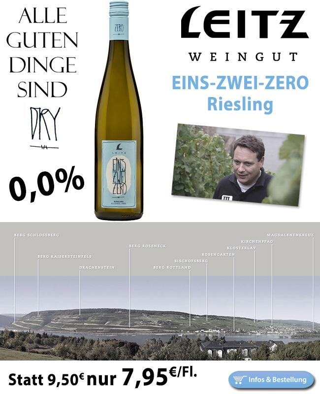 ALKOHOLFREI: EINS-ZWEI-ZERO Riesling - Leitz nur 7,95€/Fl.