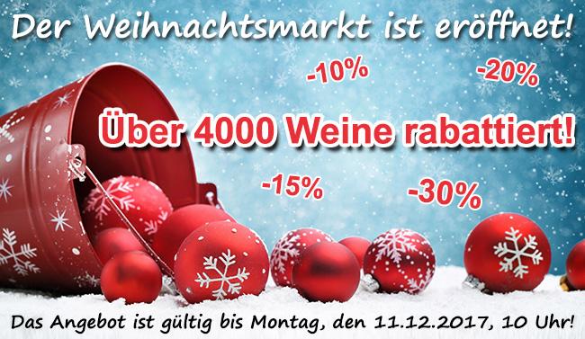 Ihr Weihnachtsmarkt mit über 4.000 Weinen bis zu 30% rabattiert!