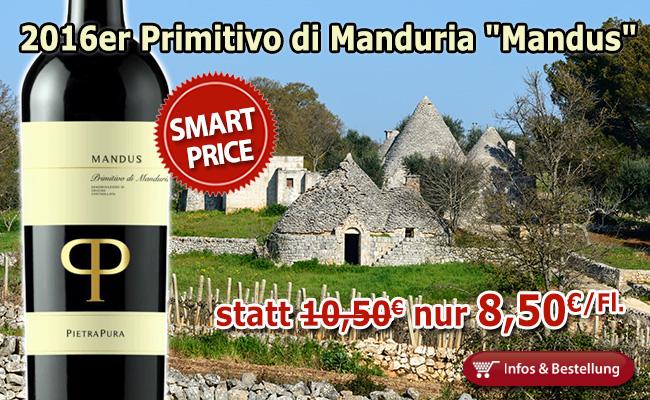 """SMART-BUY: 2016er Primitivo di Manduria """"Mandus"""" unverändert günstig nur 8,50€"""