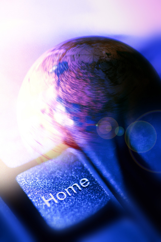 Home key with globe