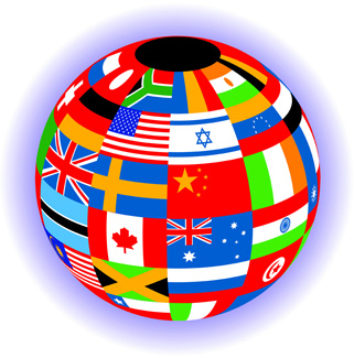 Globe and international flags Color Illustrator Ver. 5 Going global the international market