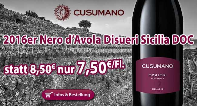 Neues vom Löwen von Sizilien: 2016er Nero d'Avola Disueri nur 7,50€/Fl. statt 8,50€