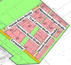 Das zukünfte israelische Viertel in Monheim (Karte: Amtsblatt der Stadt Monheim am Rhein)