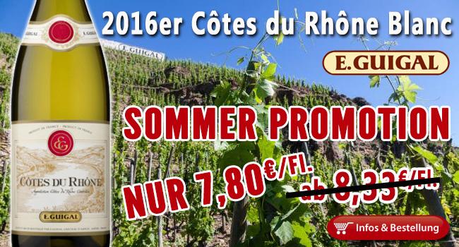 Sommer Promotion: 2016er Côtes-du-Rhône Blanc von Guigal nur 7,80€ ab der ersten Flasche!