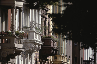 Houses with balconies, Cologne, Germany