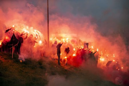 Feyenoord supporters light fireworks during training