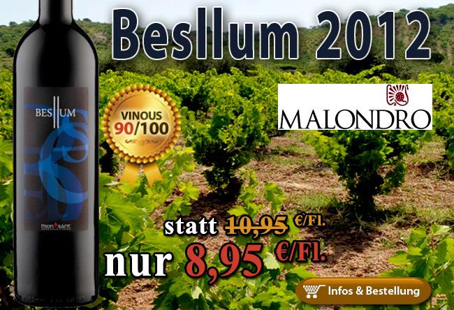 2012er Besllum Molandro 90/100 Punkte nur 8,95€/Fl.