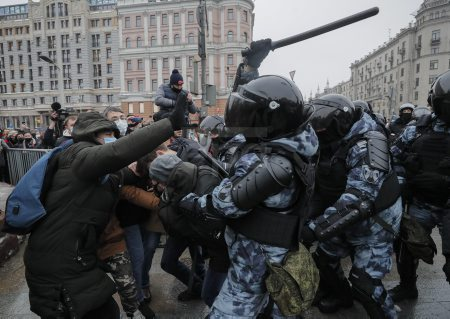 An unauthorized protest in support of Navalny in Moscow