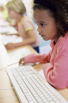 Girl using a computer